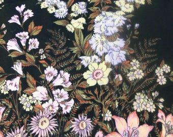 Floral shawl - black pink vintage scarf