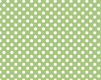 Riley Blake Medium Dot Green Fabric, 1 yard