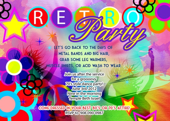 Retro 70s birthday disco dance tie and dye party invitation zoom stopboris Gallery