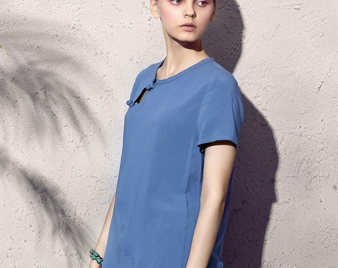 Women shirt/Top - Short sleeve shirt/Top - Neck round - Summer shirt/Top - Asymmetrical base - Made to order