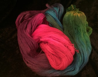 OOAK hand-dyed yarn, Merino and Silk, 1,000+ yards lace weight