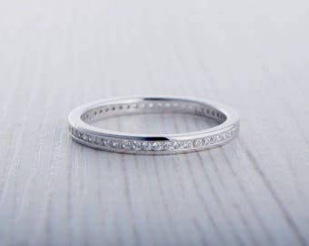 2mm Wide Man Made Diamond Simulant Full Eternity ring / stacking ring in white gold or titanium - Wedding Band - Engagement ring
