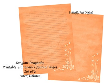 Printable Journal Pages, Lined Paper, Printable Stationery, Sunglow Dragonfly, Letter Size, Art Journaling, Instant Download