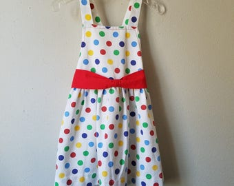 Vintage Girls Polka Dot Sun Dress with Red Bow- Size 3t- Gently Worn- Playdress