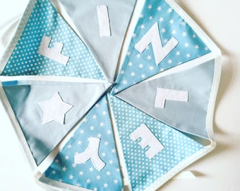 Personalised bunting, blue bunting flags with as star, Personalized bunting, Name bunting, Baby name, Bunting, Baby boy bunting, Fabric bunt
