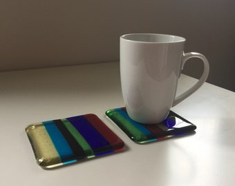 REDUCED PRICE! Set of 2 glass drinks coasters 'Style 2'