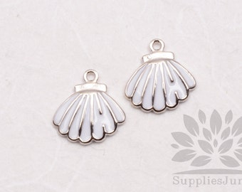 P620-S// Rhodium Plated White Epoxy Seashell Pendant, 2 pcs