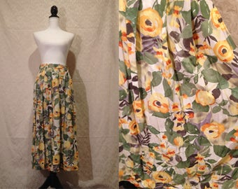 1970s 80s Yellow Green Floral High Waist Maxi Garden Skirt Summer Spring Romantic Formal Bright Flare Pleated Pendleton Watercolor Art S-M