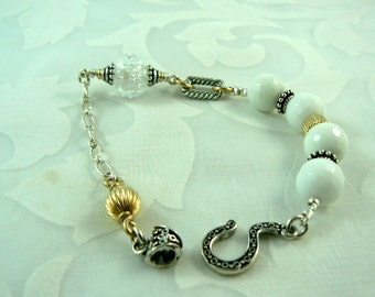 White Agate/Bubble Lampwork Bracelet