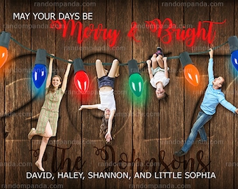 Personalize Funny Hanging from Christmas Lights Holiday Card, Merry and Bright Portrait