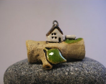 Log Cabin - Miniature House Pendant in Stoneware