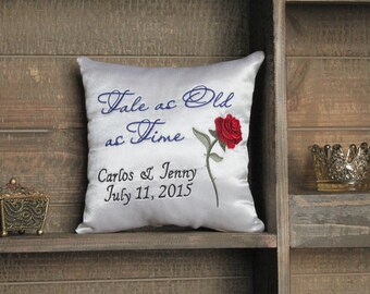 Beauty & the Beast Inspired / Tale as Old as Time / Rose - Ring Bearer Pillow/Keepsake Pillow-Wedding, Engagement, Anniversary, Gift