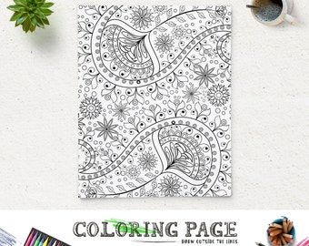 Adult Coloring Page Printable Paisley Pattern Printable Coloring Book Adult AntiStress Art Therapy Instant Download Zen Digital Art Download