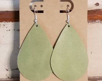 Leather Jewelry, Handmade, Sage Green, Sage, Green, Tear Drop, Jewelry, Statement, Leather Earrings, Leather Earring, Nickel Free