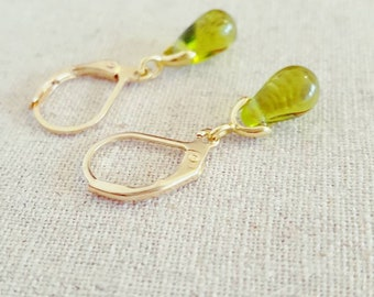 Olive Earrings • Green Drop Earrings • Teardrop Earrings • Green Jewelry  • Olive Green Earrings • Green Gold Earrings • Green Earrings