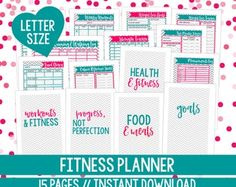 Health and Fitness Planner, Printable Fitness Planner, Fitness Planner Printable, Fitness Planner, Letter Size, 15 Pages