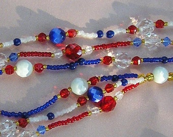 red white and blue multi strand necklace