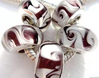 Big Hole Beads, Glass Charms 5pc Set, Handmade Swirl Murano Beads for European Charm Bracelets, Jewelry DIY Beads