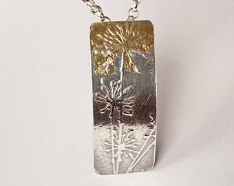 Sterling silver embossed dandelion pendant with keumboo, hallmarked in Edinburgh