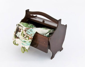 Vintage Wooden Sewing Box Storage