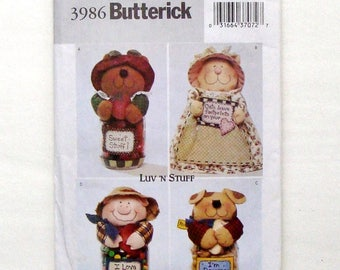 Butterick Crafts Animal Jar Covers Sewing Pattern #3986 - Luv 'N Stuff Dog, Cat, Pig, Bear - For Wide Mouth Pint Canning Jars - UNCUT F/F