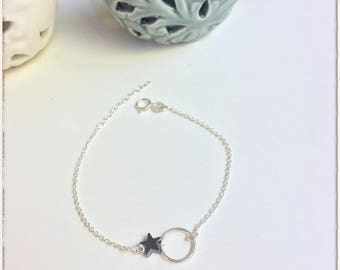 Bracelet circle and star sterling silver