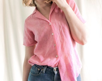 Vintage Pink Line  Blouse // S