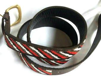 Leather beaded belt, men belt, handmade belt, African beaded belt, Maasai beaded belt, Unique belt, Leather belt