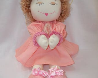 Handmade Angel Cloth Doll, Praying Cloth Doll.  Cloth doll. Textile doll & Teddy Bear. Decorative doll, Collectible doll , doll cotton,
