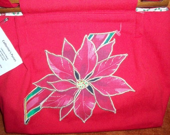 red poinsetta applique cotton purse