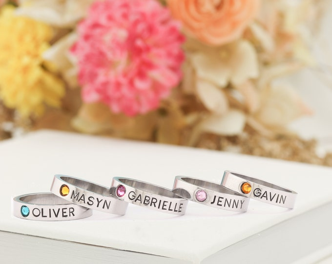 Mothers Rings - Hand Stamped Ring, Personalized ring, Stacking mothers rings, stamped name ring - Name Birthstone Ring