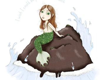 Little Mermaid Illustration - 5x7 Print