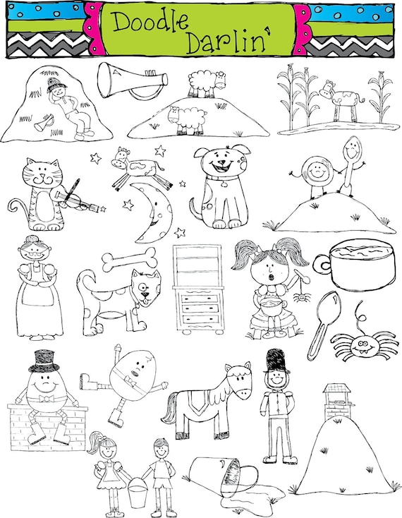 Nice Items Similar To Nursery Rhymes Blackline Clipart Set INSTANT DOWNLOAD On  Etsy