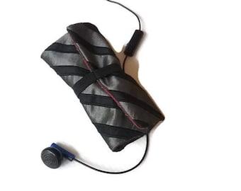 Earbud Earphone Holder Roll Case Black and Red Stripe Men's music gift