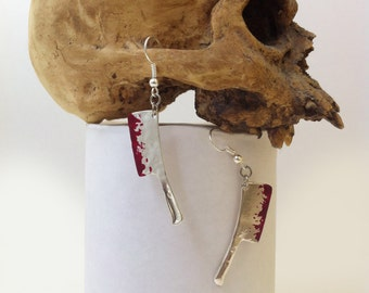 Bloody Cleaver Earrings Jewelry Gothic Horror Halloween Jewelry Silver