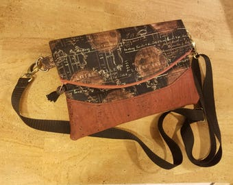 Cross body bag, purse, cork, cotton, black, bronze, fold over style, Heidi Swoon, concealed back zipper pocket,  perfect in every way