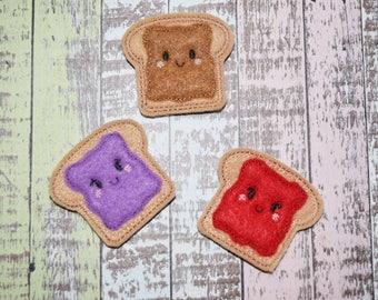 Peanut Butter and Jelly Felties | PB&J | Sandwich Felties | Applique Style | Hair Bow Supplies | Planner Clips | Felties |