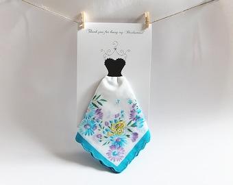 Monogrammed Bridesmaid Gift, Pastel Floral Ladies Hankies Wedding, Spring Personalized Bridesmaids, Will You Be My Bridesmaid Handkerchief
