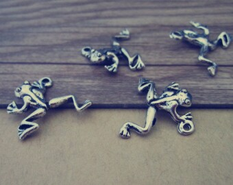 20pcs Antique silver frog charm pendant  19mmx20mm