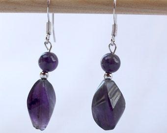 Amethyst and platinum-plated earrings, gemstone earrings, amethyst, platinum-plated, purple earrings, jewelry, February birthstone