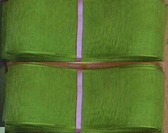 10 meters of 25mm Green organza Ribbon