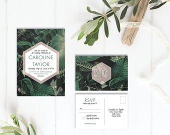 Printable Wedding Invitation Set | Wedding Invitation + RSVP postcard | Boho, modern, tropical, blush, green, botanical | Tropical