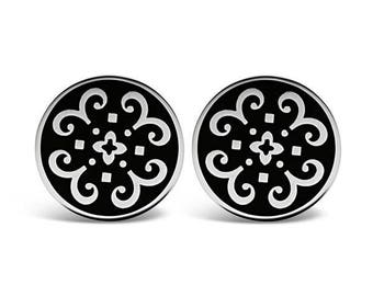 Sterling Silver Kaleidoscope Design Cufflinks