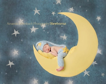 Baby Sleepy Set Prop/ Newborn Long Tail Pixie Hat/ Gender Neutral Prop/Star and Moon Photo Prop/ Twinkle Little Star/ Baby Shower Gift