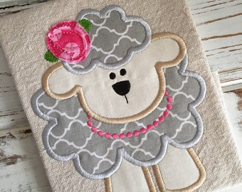 Easter Sheep Lamb Girl Applique Embroidery Design 5x7 6x10