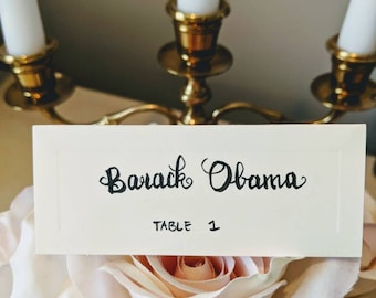 HAND-LETTERED ivory place cards, rustic wedding, baby shower, bridal shower, dinner party
