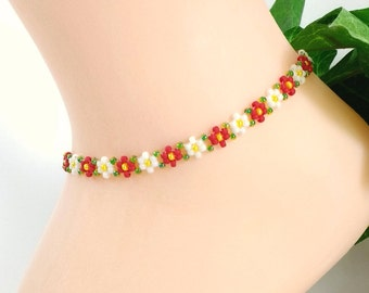 "Red Seed Bead Daisy Anklets for Women, Handmade Beaded Anklet Boho, Sizes 7"" to 11"""