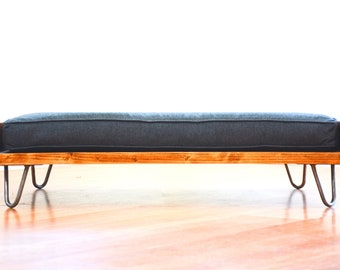 Dog Bed Mid Century Modern Design Solid Wood On Hairpin Legs With Gray Cushion