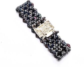 Black and Silver Bracelet, Boho Woven Bracelet, Handmade Beaded Bracelet