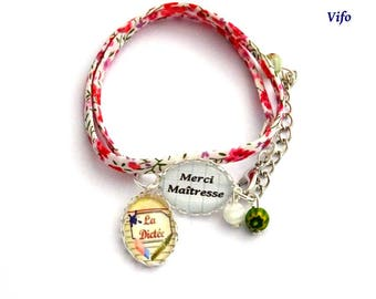 Gift teacher Bracelet liberty cabochons * thank you teacher *-* dictation * red, pink, white, adjustable